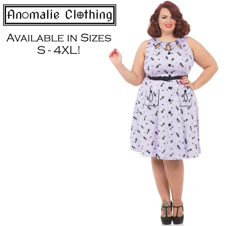 Fun 50s inspired dress features keyhole neckline, retro cat motif print, pockets & detachable belt. Free Express Shipping for all Australian Orders over $100! #RockabillyFashion #RetroFashion #Rockabilly #Fashion