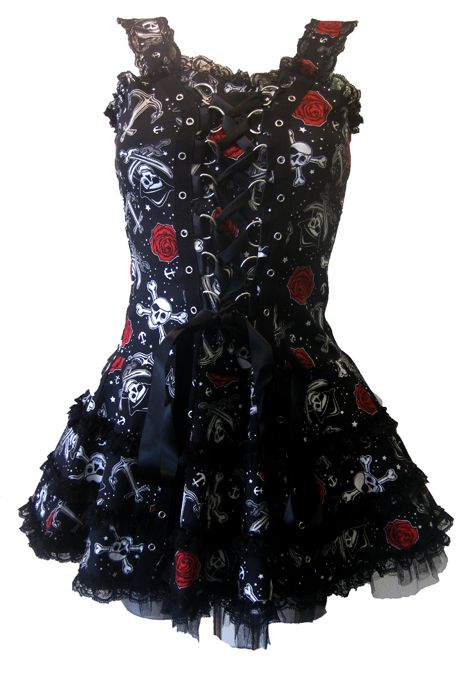 Hell Bunny Black Pearl Dress | Gothic Clothing | Emo clothing | Alternative clothing | Punk clothing - Chaotic Clothing