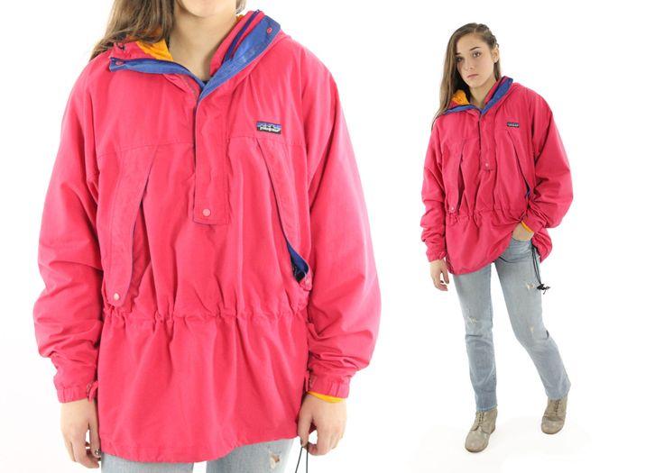 $48, Vintage 80s PATAGONIA Parka Jacket Hooded Wind Breaker Women's Men's Outerwear 1980s Medium M Nylon Pullover by ScarletFury on Etsy
