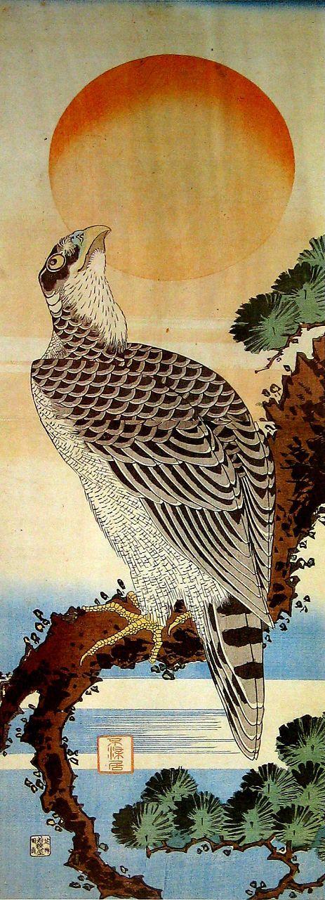 葛飾北斎 Hokusai Katsushika『日の出に鷹図』1828年頃