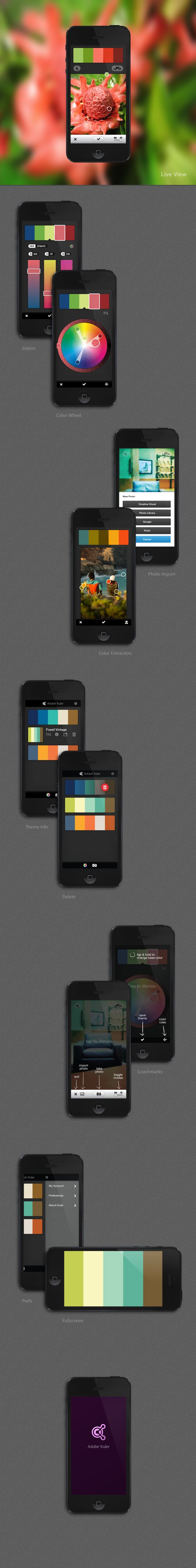 Adobe Kuler (iPhone app) by Gabriel Campbell, via Behance #design, #UI, #UX, #interface, #experience