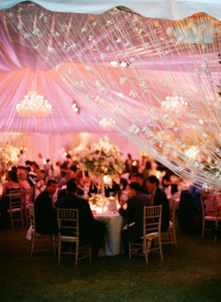 Pink Wedding reception drapery