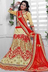 Opulent Beige and Red Lehenga Choli Set - https://www.ethanica.com/products/opulent-beige-and-red-lehenga-choli-set