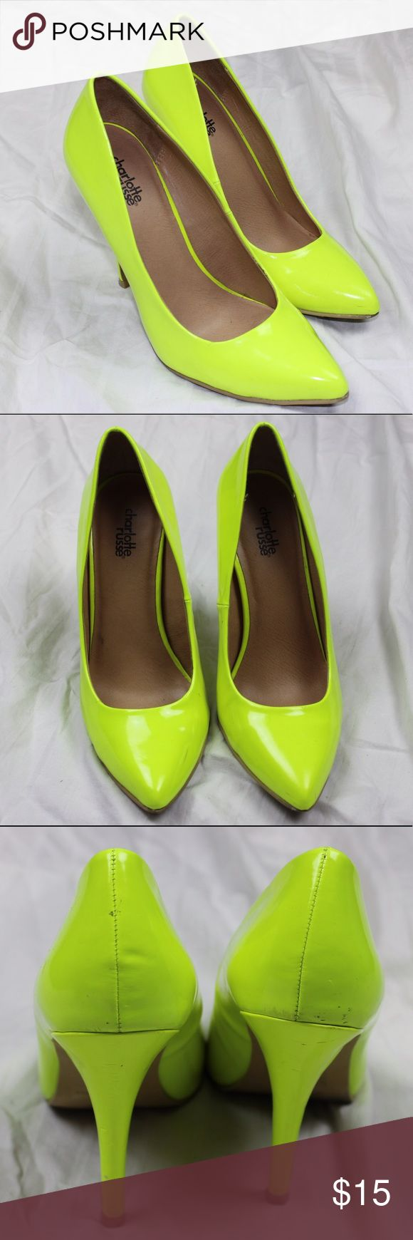 Neon Yellow Pointed Toe Cosplay Club Heels The bottoms show some signs of wear and the backs have some slight damage. However, these would be great to add some color to an outfit or as an addition to a costume. Measurements; Heels: 4.5' Charlotte Russe Shoes Heels