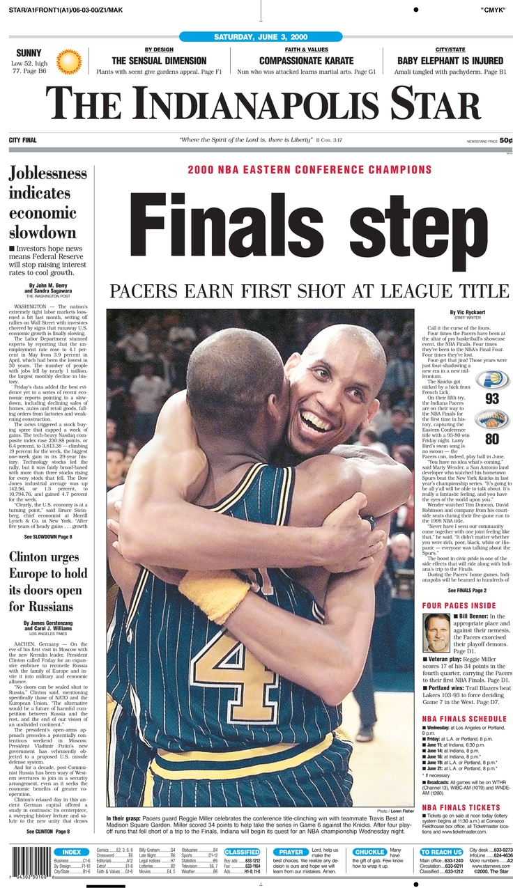 Indiana Pacers reach the NBA Finals in 2000. Indianapolis Star front page
