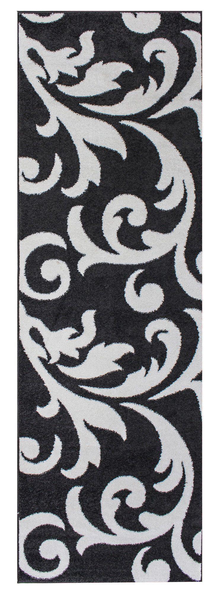 Metro Dark Grey & White Floral Damask Rug