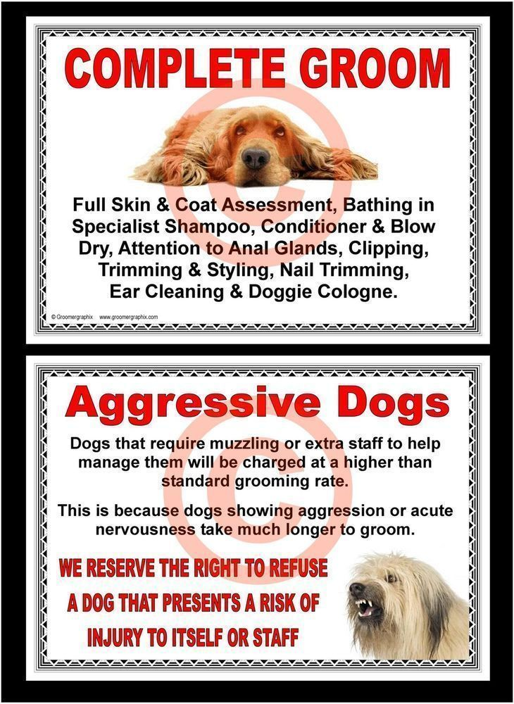 Dog Grooming Complete Groom Aggressive Dogs Signs By Groomergraphix In Pet Supplies Dog Supplies O Dog Grooming Shop Aggressive Dog Pet Grooming Business