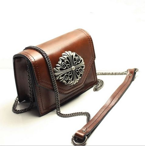 Hot sale small women's clutches designer retro shoulder bag high quality leather metallic chain bags brown female purse 7colors-in Shoulder Bags from Luggage & Bags on Aliexpress.com | Alibaba Group