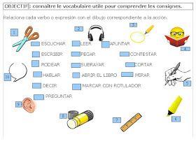 Sandrine a monté cette petite activité qui permet de mettre en place le lexique des consignes en cours d'Espagnol.       Merci Sandrine !!