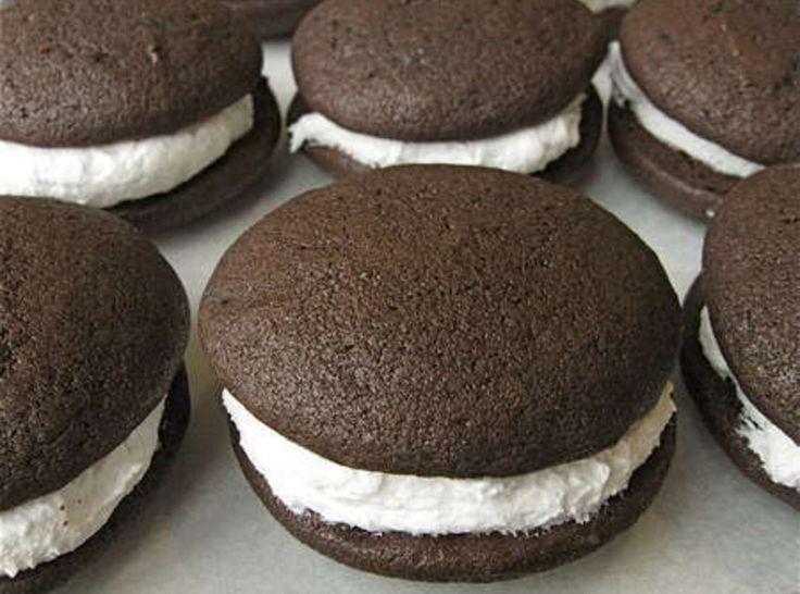 Whoopie Pies***This Whoopie Pie recipe does not use marshmallow fluff for filling..uses egg whites, vanilla, powdered sugar, and crisco shortening.