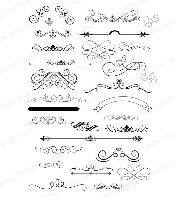 SVG File Digital Design Files used for Vinyl cutting and Silhouette Cameo Software Scrolls and Flourishes by svgDesignFiles on Etsy