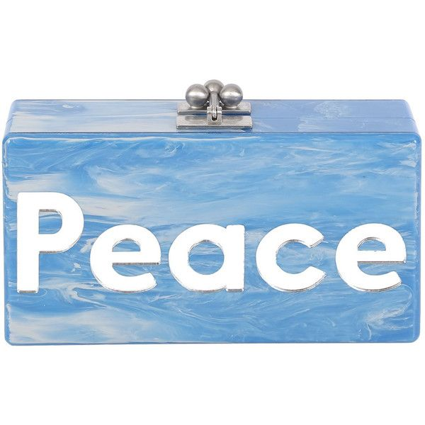 Edie Parker Jean Peace & Love Acrylic Clutch Bag ($747) ❤ liked on Polyvore featuring bags, handbags, clutches, blue pattern, blue clutches, print handbags, kiss-lock handbags, edie parker and pattern purse