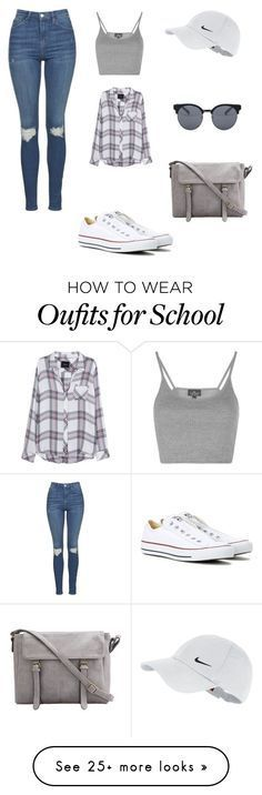 """""""School ✨"""" by fuhrmanhannah on Polyvore featuring Topshop, Converse, NIKE, Rails and Quay"""