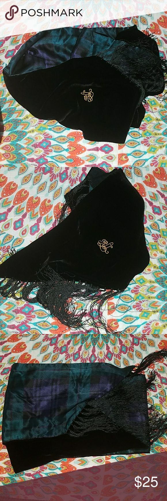 Lauren Ralph Lauren Black Velvet Scarf Black & plaid with tassels Lauren Ralph Lauren Accessories Scarves & Wraps