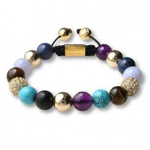 Nialaya bracelet gold onyx, tiger eye brown, blue lapis, amethypst and turquoise Bali: 315€