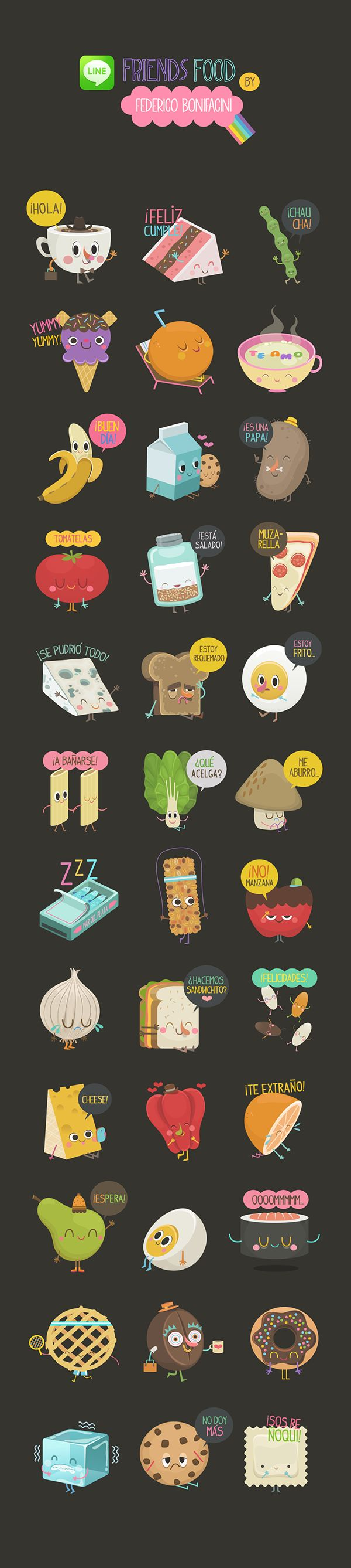 FRIENDS FOOD Line Stickers on Behance by Federico Bonifacini