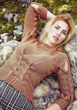 Пуловер с узором из отдельных кос