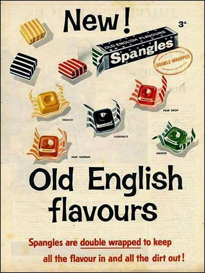 Old English Spangles....spangles came in lots of different flavoured packs.