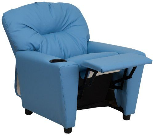 Kids' Recliners - Flash Furniture BT7950KIDLTBLUEGG Contemporary Light Blue Vinyl Kids Recliner with Cup Holder *** Want to know more, click on the image.