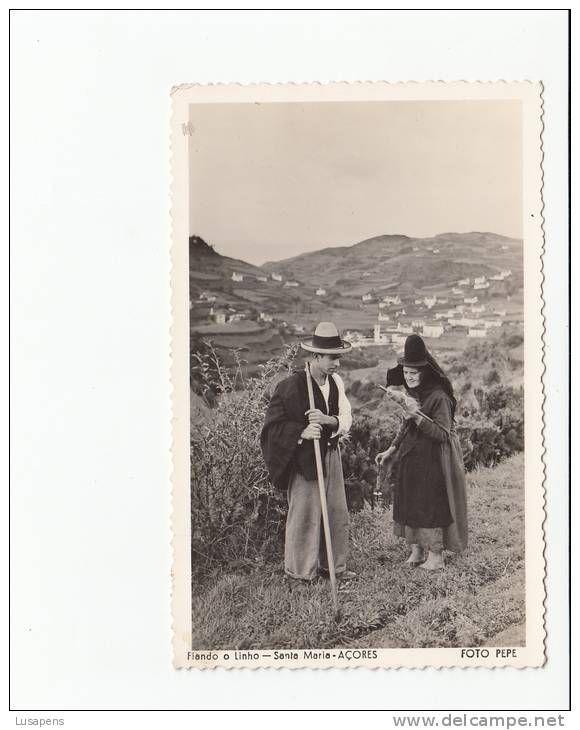Found this picture of my grandpa and great-grandma on Pinterest! Historical picture from Santa Maria, Azores.   PORTUGAL - AÇORES AZORES - [#212] - SANTA MARIA - FIANDO O LINHO COSTUMES - FOTO PEPE - CARIMBO CORREIO AEREO AEROPORTO