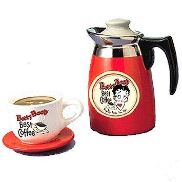 *BETTY BOOP ~ Coffee Salt & Pepper Shakers:  ~ Because of all the Betty Boop things I've bought for Boo. It influenced me to start doing my kitchen in Red, Black and White. ~ I'll always have my kitchen decorated in the mixed styles. It will always remind me of Boo - Barbara Joanne.