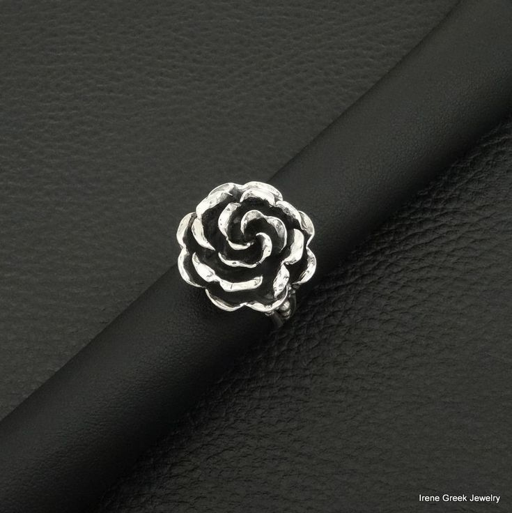 BIG LUXURY ROSE DESIGN 925 STERLING SILVER GREEK HANDMADE ART RING #IreneGreekJewelry #Dome