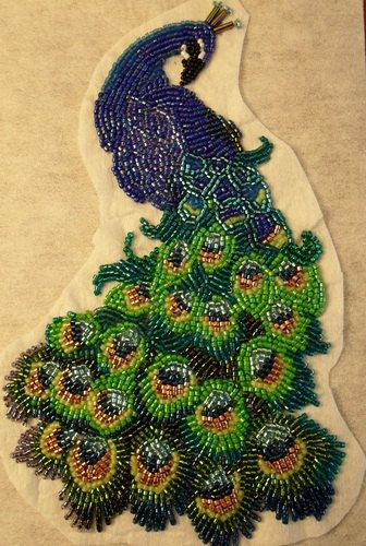 Bead embroidered peacock
