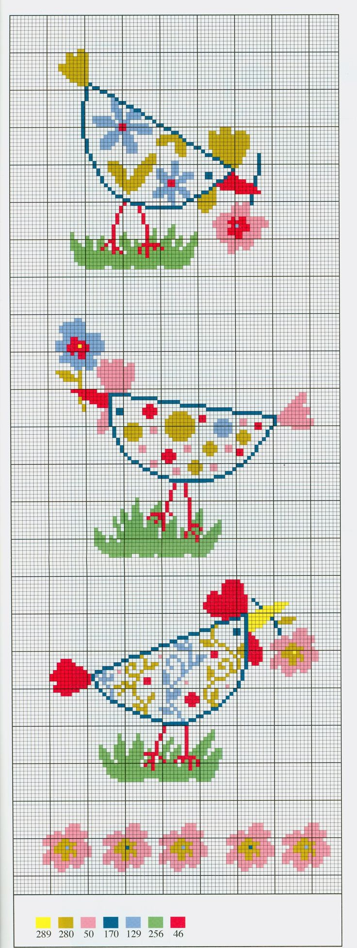 Patrones de Punto Cruz  Floral chickens free cross stitch pattern from www.coatscrafts.pl