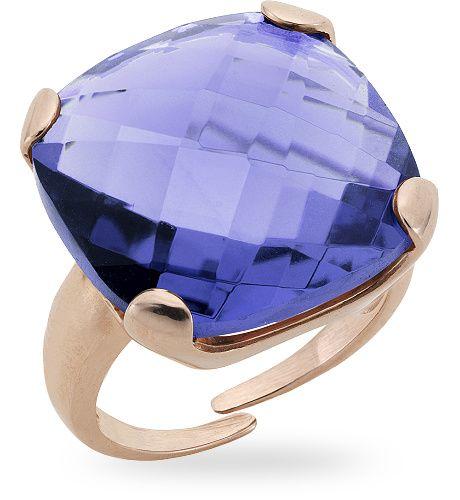 Anello in argento rosso 925 con 15.00 ct. di ametista di sintesi - Zoccai 925 #violet #silver #ring