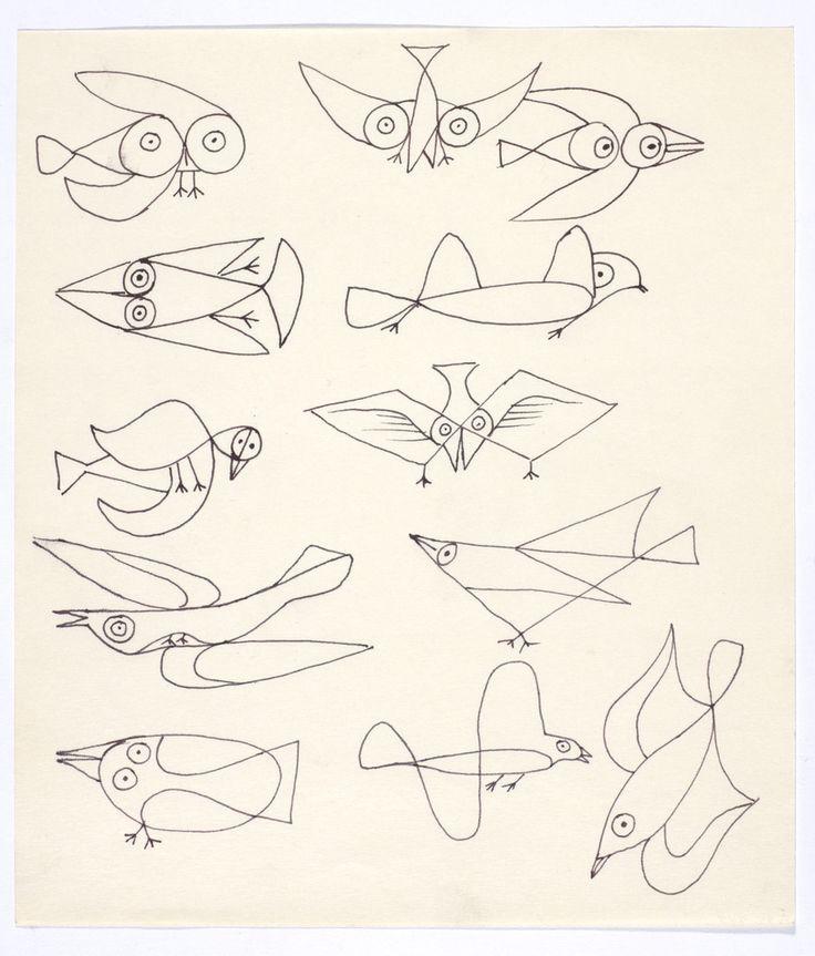 Alfred Pellan, Douze Oiseaux, vers 1967. Encre sur papier, 20,5 cm x 17,8 cm.