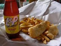 L & P and fish 'n chips #kiwiana