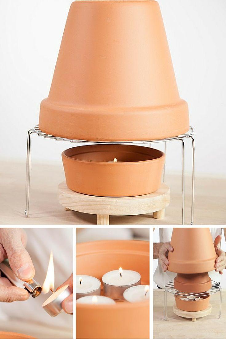 Ahorra dinero con esta estufa hecha en casa y calienta de una manera sencilla una habitación entera. Haz tu propio calefactor low cost con un par de macetas y unas velas. ¡Calefacción DIY!