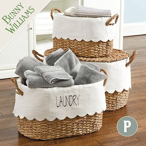 Bunny Williams Nesting Baskets with Scalloped Liner - Set of 3