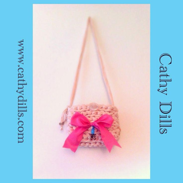 """Pink ribbon handbag for girls"" by Cathy Dills.  www.cathydills.com"