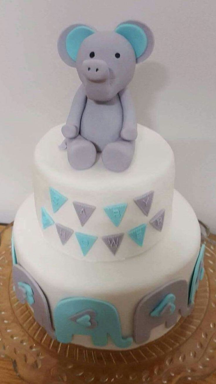 Pink Milk & Peonies - baby boy baby shower 2 tier cake. Fondant bunting and elephant @pink_milk_and_peonies