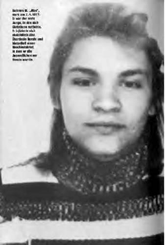Atze (Andreas Wiczoreck) Le premier amour de Christiane.  Suicide par overdose le 7 avril 1977.