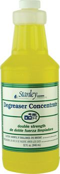 Degreaser Concentrate  All-Purpose, Double-Strength Cleaner     Concentrated to work hard: Dissolves grease in seconds on cookware, countertops, broilers, dishes, tools, and walls - wherever grease build-up is a problem. Cost effective: It's four times more concentrated than leading cleaners ... so you use only 1/4 as much. 32 oz. of Degreaser Concentrate makes 96 16-oz. pump spray bottles.    Safe for septic tanks, biodegradable, and phosphate-free.  Order w/ Dealer # 0740747