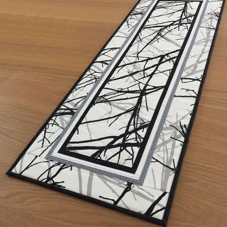 Modern Quilted Table Runner, Black Fabric Table Runner, Contemporary Table Topper, Table Centrepiece, Winter Tree Quilted Wall Hanging by SewnByVicki on Etsy https://www.etsy.com/uk/listing/574983176/modern-quilted-table-runner-black-fabric