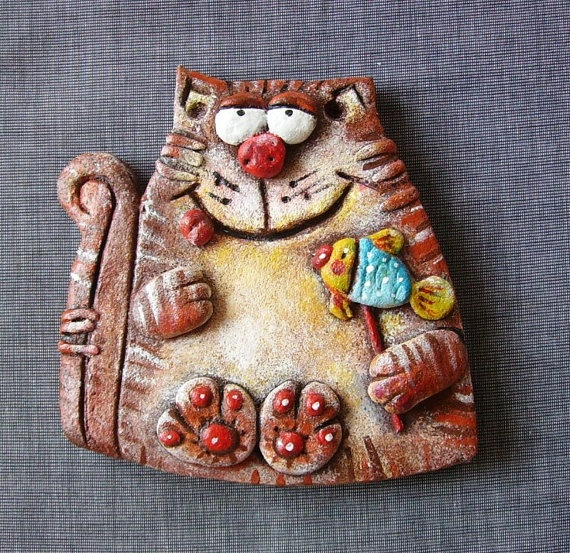 The cat with lollipop salt dough figurine wall by UnderAngelWings