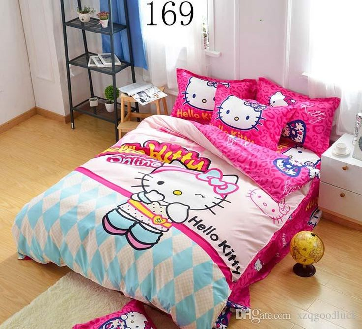 Cute Hello Kitty Twin Queen Size Bedding Set Duvet Cover Sheet Pillowcase  Children Kids Comforter Cove