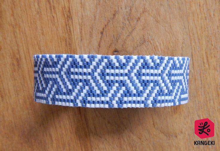 Bracelet manchette de perles Miyuki bleu/gris et blanc