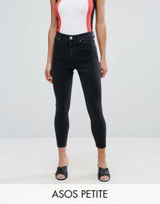 Выбеленные черные джинсы скинни ASOS PETITE RIDLEY