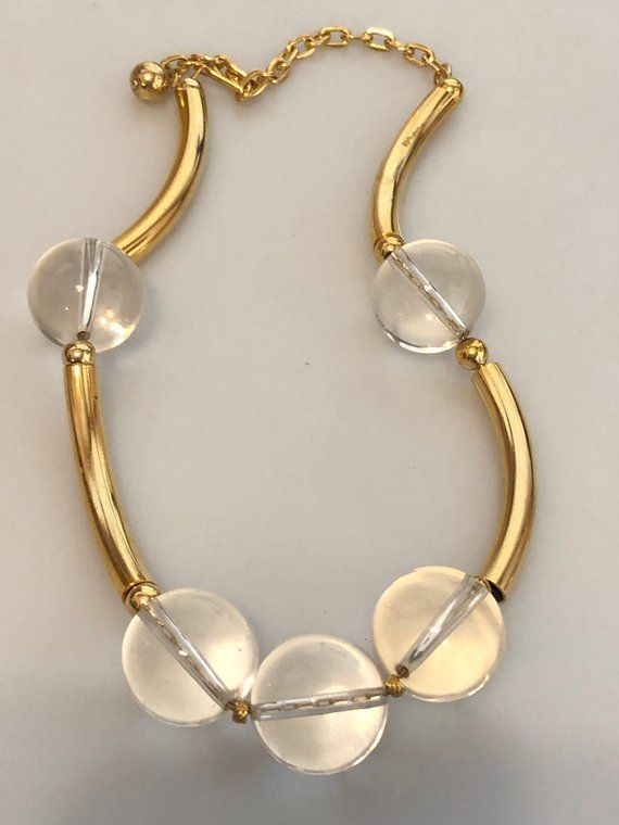 1a54ad0c97b6c 1970s Vintage LUCITE and Gold Plated CHOKER Necklace Clear Lucite ...