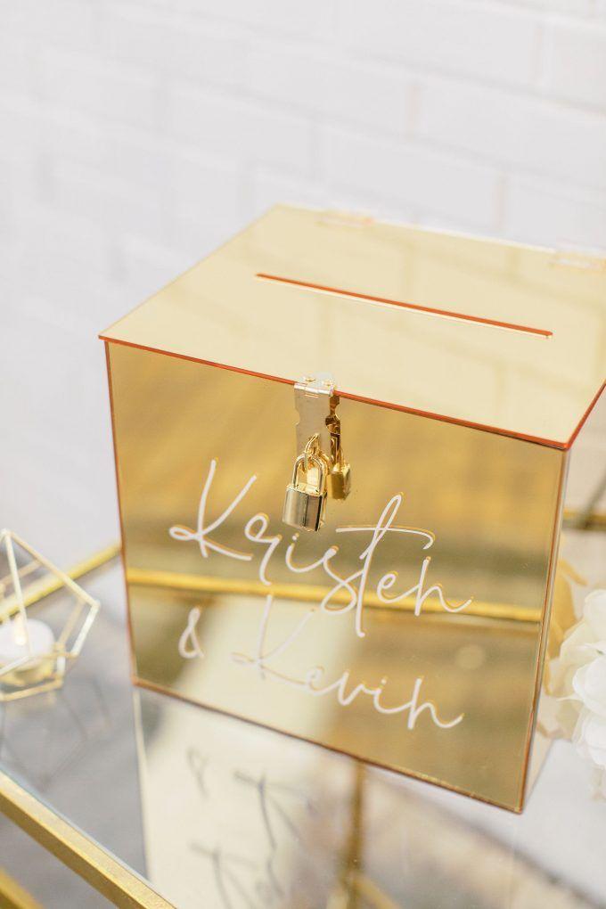 Gold Mirror Card Box With Lock And Key Included Emmaline Bride Card Box Wedding Gold Card Box Wedding Money Box Wedding