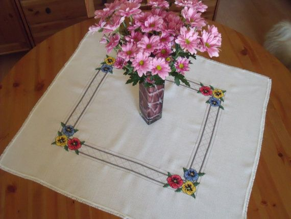 Embroidered cross stitch cotton floral pattern new by justknitted1