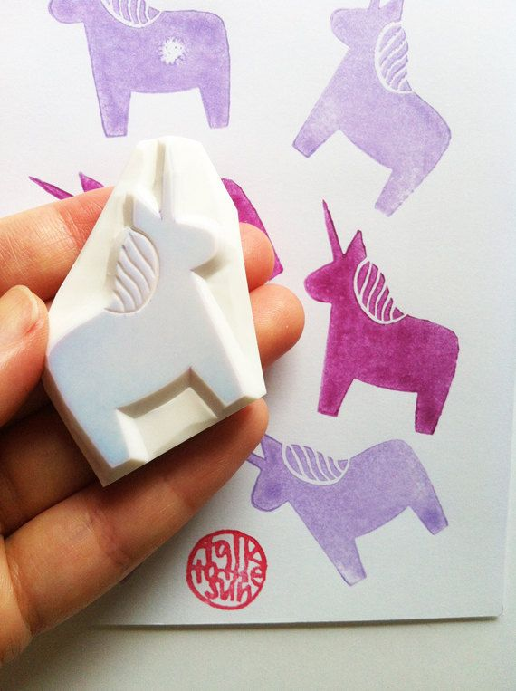 unicorn rubber stamp. hand carved rubber stamp. hand carved stamp. dala horse without tail. story telling. diy birthday. craft supplies.