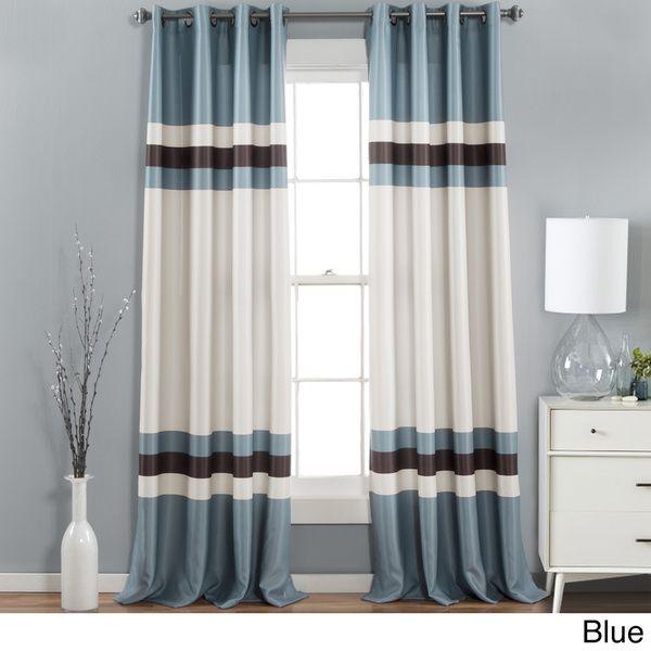 Lush Decor Alexander Stripe Room Darkening Curtain Panel Pair