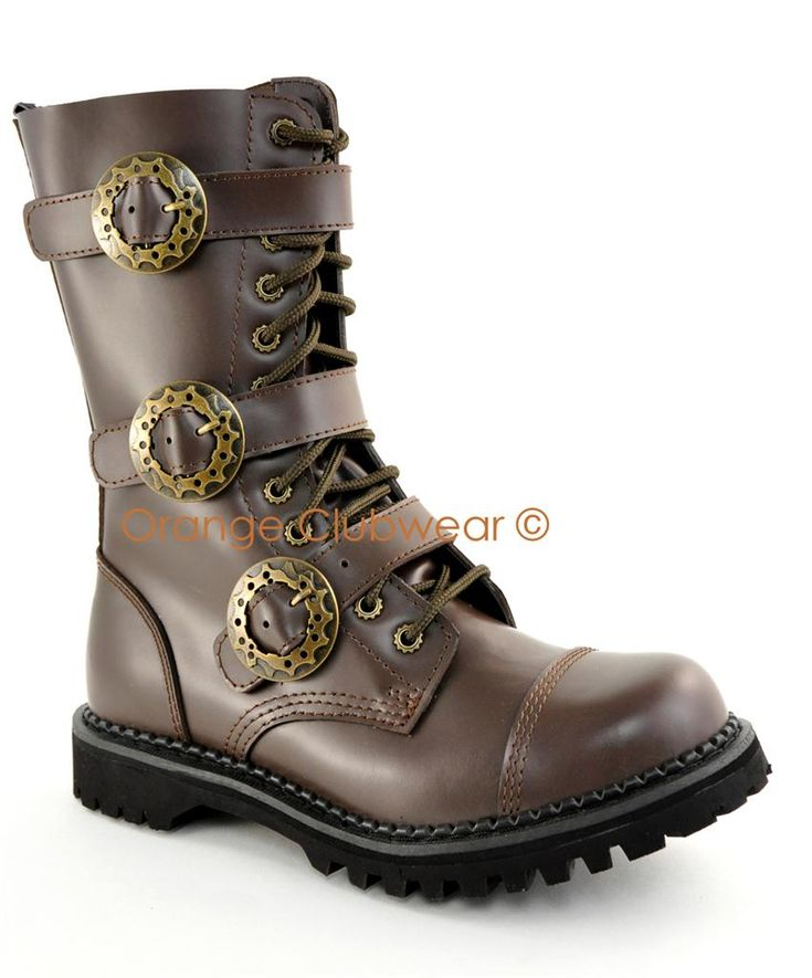 DEMONIA Mens Steampunk Leather Combat Ankle Boots Shoes