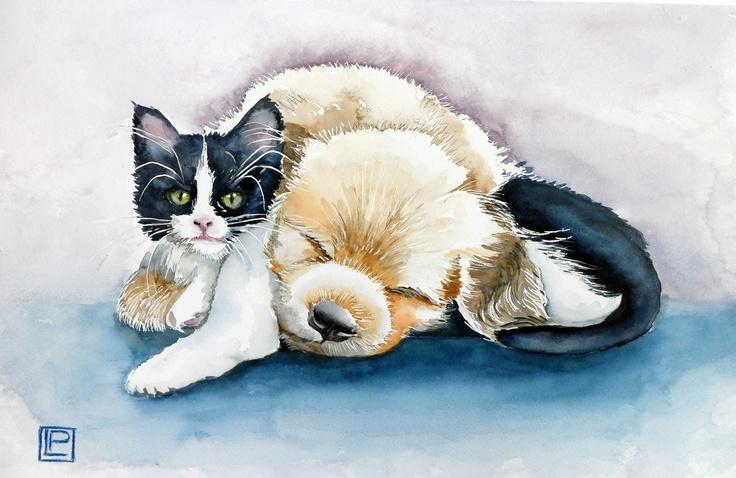 cane e gatto- acquerello 35x51 di Lorenza Pasquali