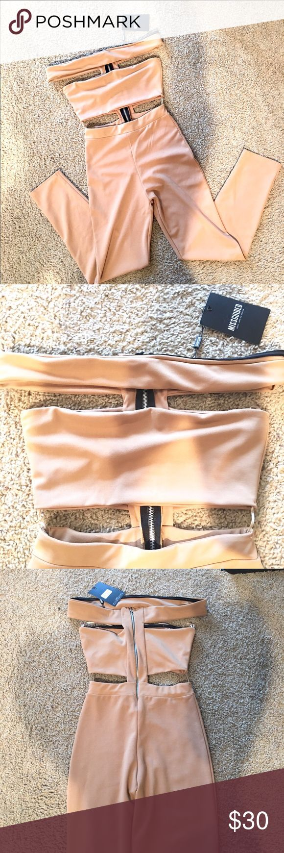 "NWT Missguided camel jumpsuit size US 6 Brand: MISSGUIDED.                                                NWT      Length: 52""     Pants Length: 41""                 Inseam: 29""          Bust: 29"" Missguided Pants Jumpsuits & Rompers"